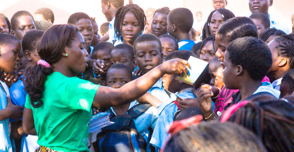 Veronica distributes hundreds of Little Zebra books to children in Tete, Mozambique every week.